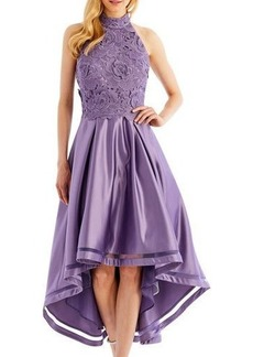 Nicole Miller New York High-Low Cocktail Dress with 3D-Lace Bodice