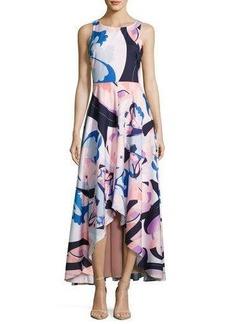 Nicole Miller New York High-Low Graphic-Print Maxi Dress