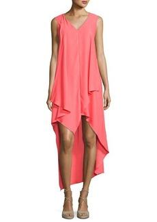 Nicole Miller New York High-Low Sleeveless Crepe Dress