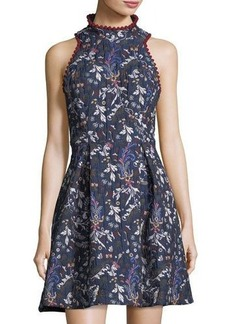 Nicole Miller New York High-Neck Jacquard Fit-and-Flare Dress