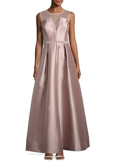 Nicole Miller New York Illusion Neckline Beaded-Waist Gown
