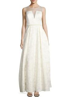 Nicole Miller New York Illusion-Yoke Jacquard Gown
