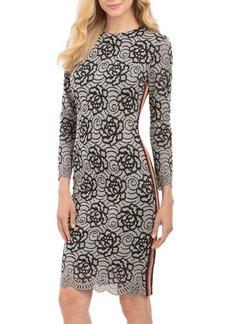 Nicole Miller New York Lace Two-Tone Dress w/Ribbon Stripe