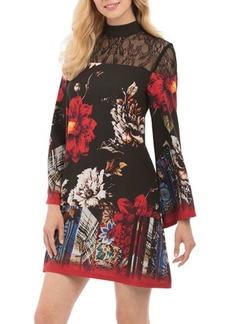 Nicole Miller New York Lace-Yoke Mock-Neck Printed Dress