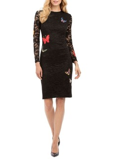 Nicole Miller New York Long Sleeve Lace Sheath Dress