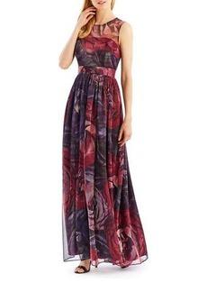 Nicole Miller New York Metallic Floral-Print Gown