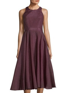 Nicole Miller New York Metallic Organza Tea-Length Dress