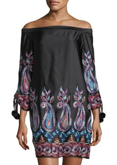Nicole Miller New York Off-the-Shoulder Paisley Shift Dress