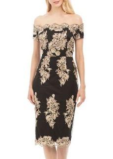 Nicole Miller New York Off-the-Shoulder Sequin Cocktail Dress
