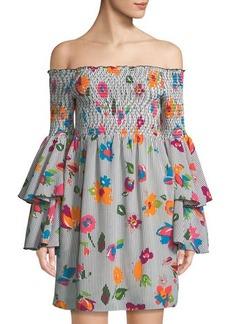 Nicole Miller New York Off-The-Shoulder Tiered-Sleeve Floral Dress