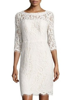 Nicole Miller New York Open-Back Lace Sheath Cocktail Dress