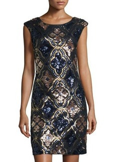 Nicole Miller New York Open-Back Sequined Cocktail Dress