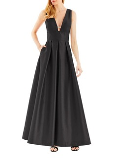 Nicole Miller New York Pleated Fit & Flare Gown