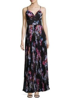 Nicole Miller New York Pleated Floral-Print Gown