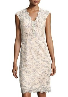 Nicole Miller New York Plunging V-Neck Lace Sheath Cocktail Dress