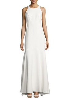 Nicole Miller New York Ruffle-Back Crepe Gown