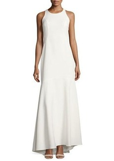 Nicole Miller New York Ruffled-Back Stretch-Crepe Gown