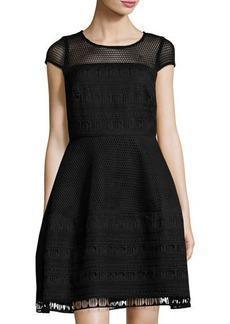 Nicole Miller New York Short-Sleeve Heavy Mesh Fit & Flare Dress