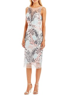 Nicole Miller New York Sleeveless Embroidered Cocktail Dress