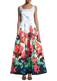 Nicole Miller New York Sleeveless Floral-Print Fit-and-Flare Gown
