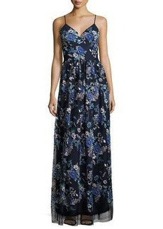 Nicole Miller New York Sleeveless Floral-Print Maxi Gown