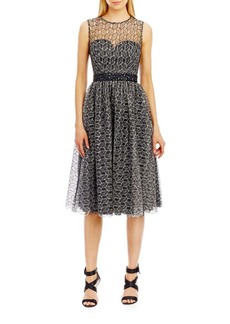 Nicole Miller New York Sleeveless Lace Illusion Fit and Flare Dress