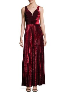 Nicole Miller New York Sleeveless Velvet Pleated Gown