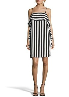 Nicole Miller New York Sleeveless Vertical Stripe Ruffle Dress