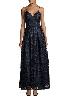 Nicole Miller New York Soutache Spaghetti Strap Fit-and-Flare Gown