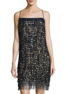 Nicole Miller New York Spaghetti-Strap Fringe Cocktail Dress