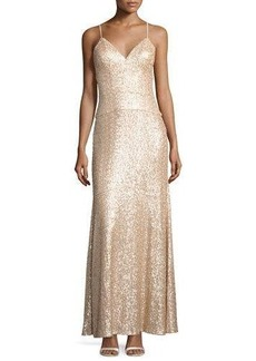 Nicole Miller New York Spaghetti-Strap Sequin Column Gown
