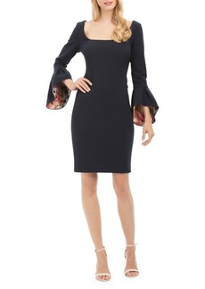 Nicole Miller New York Squareneck Bell-Sleeve Sheath Dress