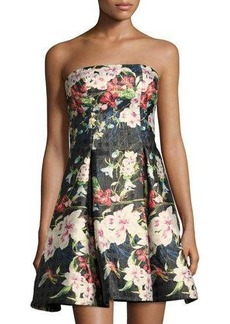 Nicole Miller New York Strapless Floral-Print Cocktail Dress