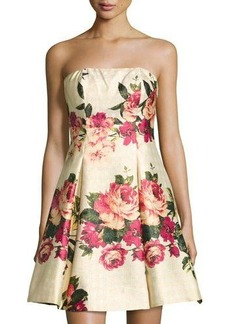 Nicole Miller New York Strapless Floral-Print Dress
