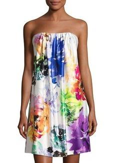 Nicole Miller New York Strapless Floral-Print Short Dress