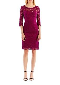 Nicole Miller New York Three Quarter Sleeve Lace Sheath Dress
