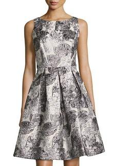 Nicole Miller New York V-Back Jacquard Fit & Flare Dress