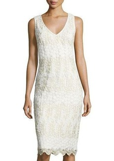 Nicole Miller New York V-Neck Embroidered Sheath Cocktail Dress