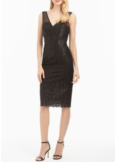 Nicole Miller New York V-Neck Fitted Lace Cocktail Dress