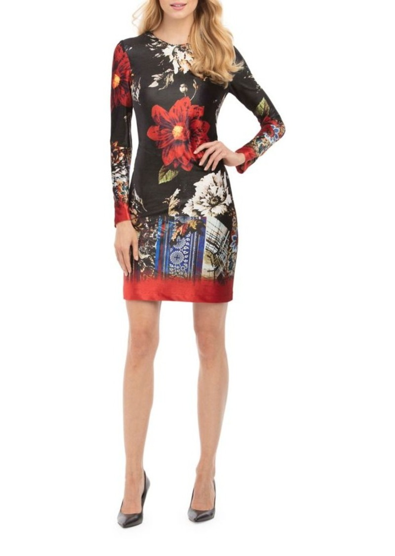 Nicole Miller New York Velvet Fl Sheath Dress
