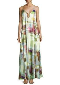 Nicole Miller New York Watercolor-Print Maxi Dress