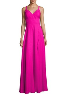 Nicole Miller New York Wide-Strap Crepe A-line Gown
