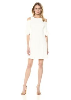 Nicole Miller New York Women's Cold-Shoulder Dress with Ruffle Sleeve