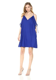 Nicole Miller New York Women's Cold Shoulder Flutter Sleeve Trapeze Dress