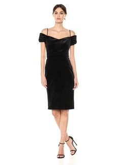 Nicole Miller New York Women's Cold Shoulder Stretch Velvet Cocktail Dress