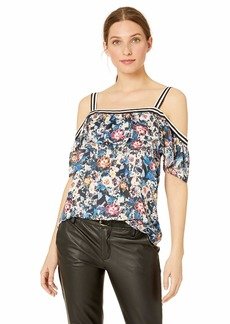 Nicole Miller New York Women's Cold Shoulder Top Regal Roses/black-00206