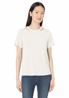 Nicole Miller New York Women's Cut Out Short Sleeve Top