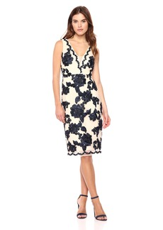 Nicole Miller New York Women's Deep V-Neck Fitted Cocktail Dress