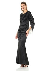 Nicole Miller New York Women's Drape Back Cape Sleeve Gathered Waist Fitted Mermaid Gown