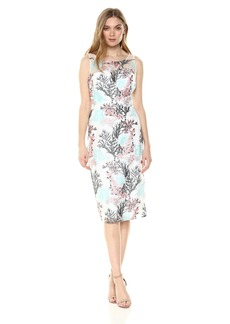Nicole Miller New York Women's Embroidered Cocktail Dress with Illusion Neckline